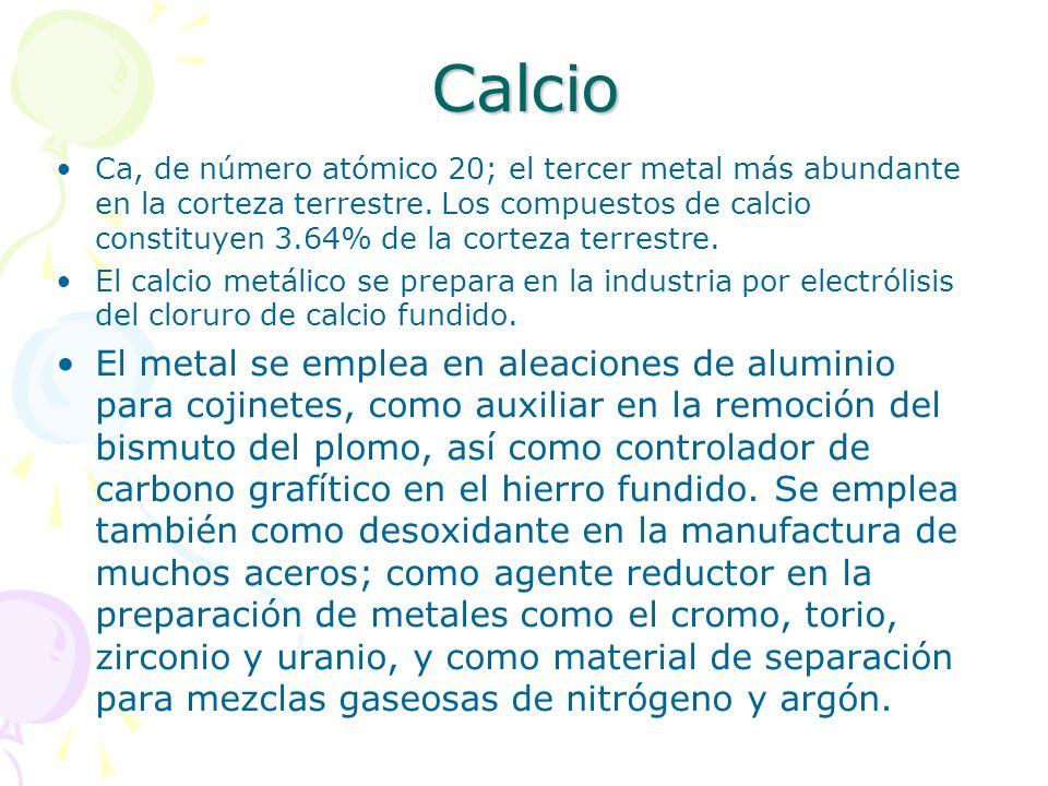Calcio Ca, de número atómico 20; el tercer metal más abundante en la corteza terrestre. Los compuestos de calcio constituyen 3.64% de la corteza terre