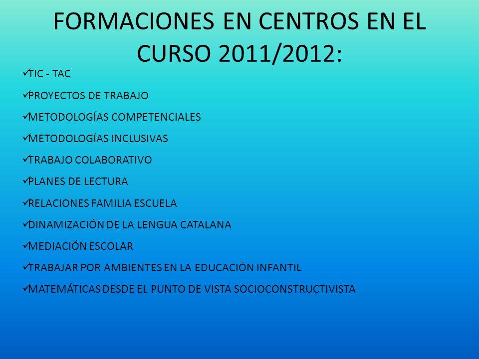 FORMACIONES EN CENTROS EN EL CURSO 2011/2012: TIC - TAC PROYECTOS DE TRABAJO METODOLOGÍAS COMPETENCIALES METODOLOGÍAS INCLUSIVAS TRABAJO COLABORATIVO