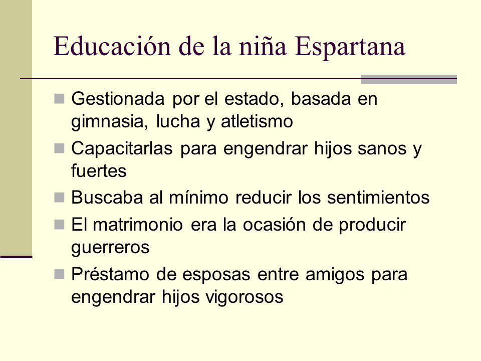 Educación de la niña Espartana Gestionada por el estado, basada en gimnasia, lucha y atletismo Capacitarlas para engendrar hijos sanos y fuertes Busca