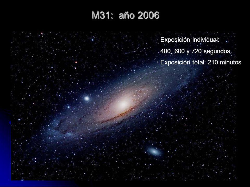 M31: año 2006 · Exposición individual: 480, 600 y 720 segundos · Exposición total: 210 minutos