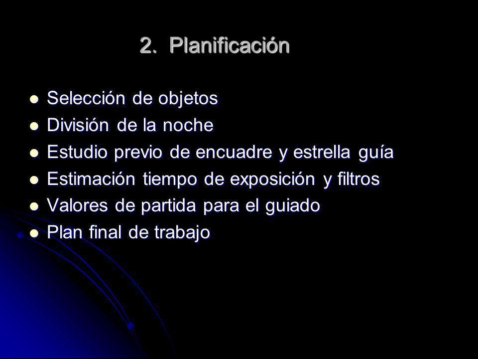 2. Planificación Selección de objetos Selección de objetos División de la noche División de la noche Estudio previo de encuadre y estrella guía Estudi