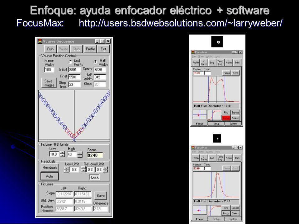 Enfoque: ayuda enfocador eléctrico + software FocusMax: http://users.bsdwebsolutions.com/~larryweber/