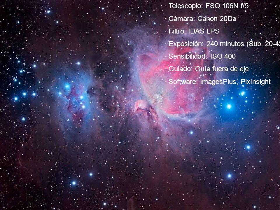 · Telescopio: FSQ 106N f/5 · Cámara: Canon 20Da · Filtro: IDAS LPS · Exposición: 240 minutos (Sub. 20-420 s.) · Sensibilidad: ISO 400 · Guiado: Guía f