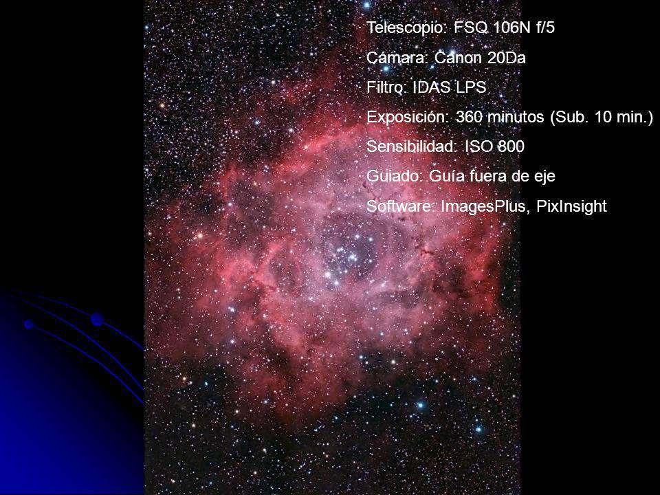 · Telescopio: FSQ 106N f/5 · Cámara: Canon 20Da · Filtro: IDAS LPS · Exposición: 360 minutos (Sub. 10 min.) · Sensibilidad: ISO 800 · Guiado: Guía fue