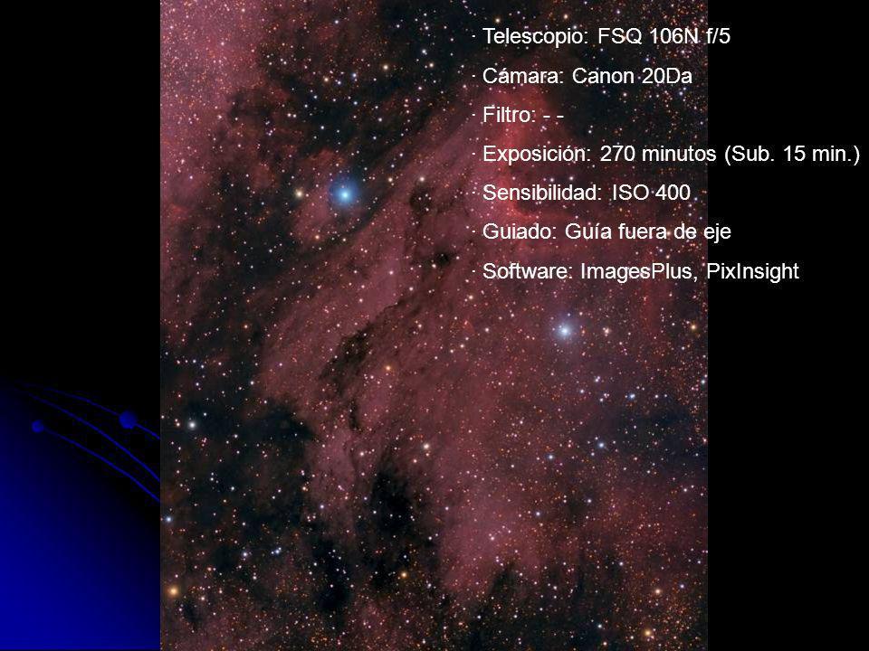 · Telescopio: FSQ 106N f/5 · Cámara: Canon 20Da · Filtro: - - · Exposición: 270 minutos (Sub. 15 min.) · Sensibilidad: ISO 400 · Guiado: Guía fuera de