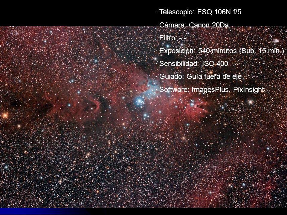 · Telescopio: FSQ 106N f/5 · Cámara: Canon 20Da · Filtro: - - · Exposición: 540 minutos (Sub. 15 min.) · Sensibilidad: ISO 400 · Guiado: Guía fuera de