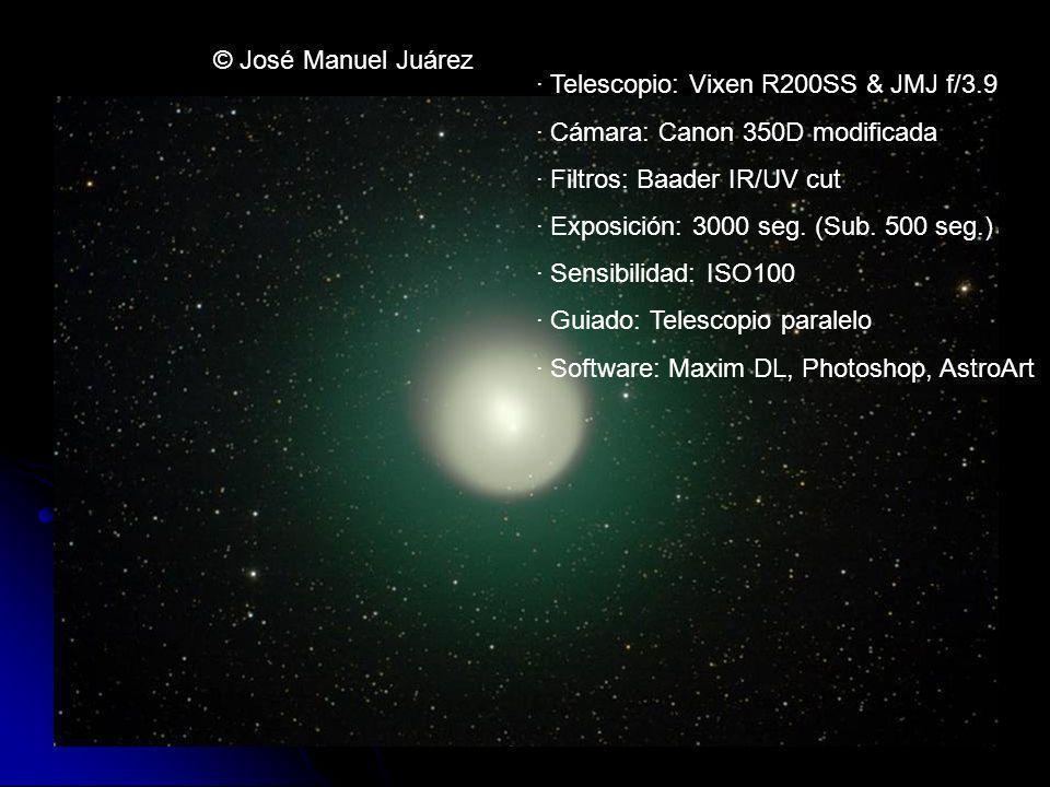 © José Manuel Juárez · Telescopio: Vixen R200SS & JMJ f/3.9 · Cámara: Canon 350D modificada · Filtros: Baader IR/UV cut · Exposición: 3000 seg. (Sub.