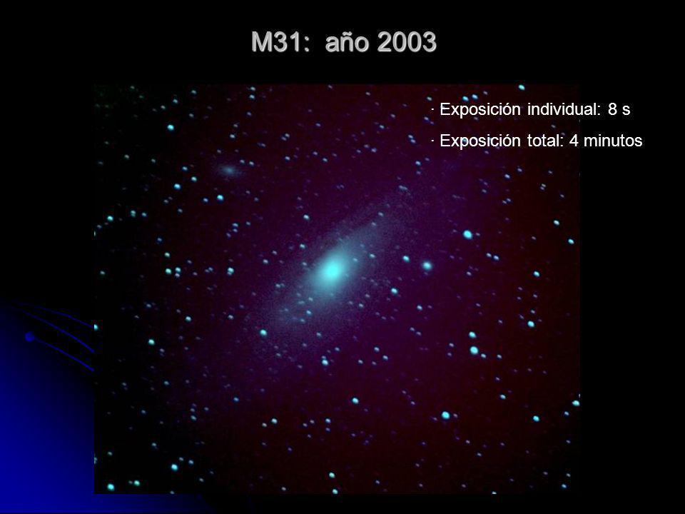 M31: año 2003 · Exposición individual: 8 s · Exposición total: 4 minutos