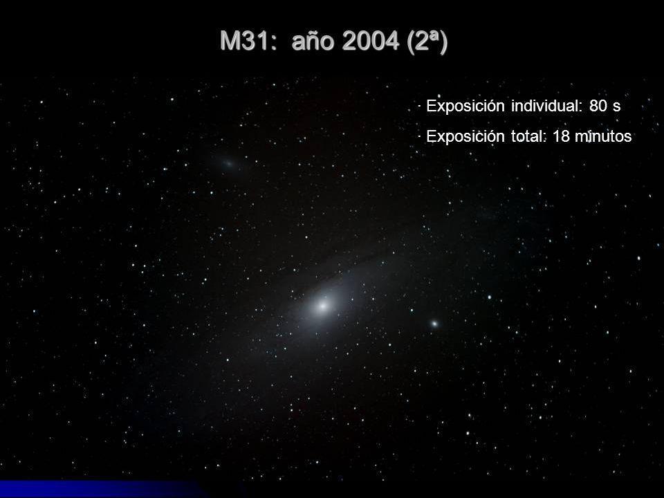 M31: año 2004 (2ª) · Exposición individual: 80 s · Exposición total: 18 minutos