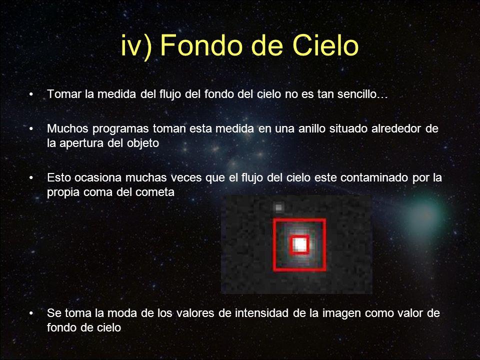 iv) Fondo de Cielo Tomar la medida del flujo del fondo del cielo no es tan sencillo… Muchos programas toman esta medida en una anillo situado alrededo