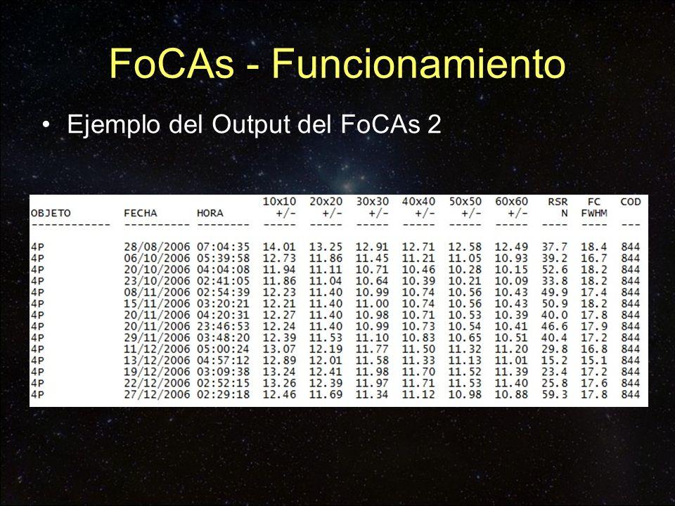Ejemplo del Output del FoCAs 2 FoCAs - Funcionamiento