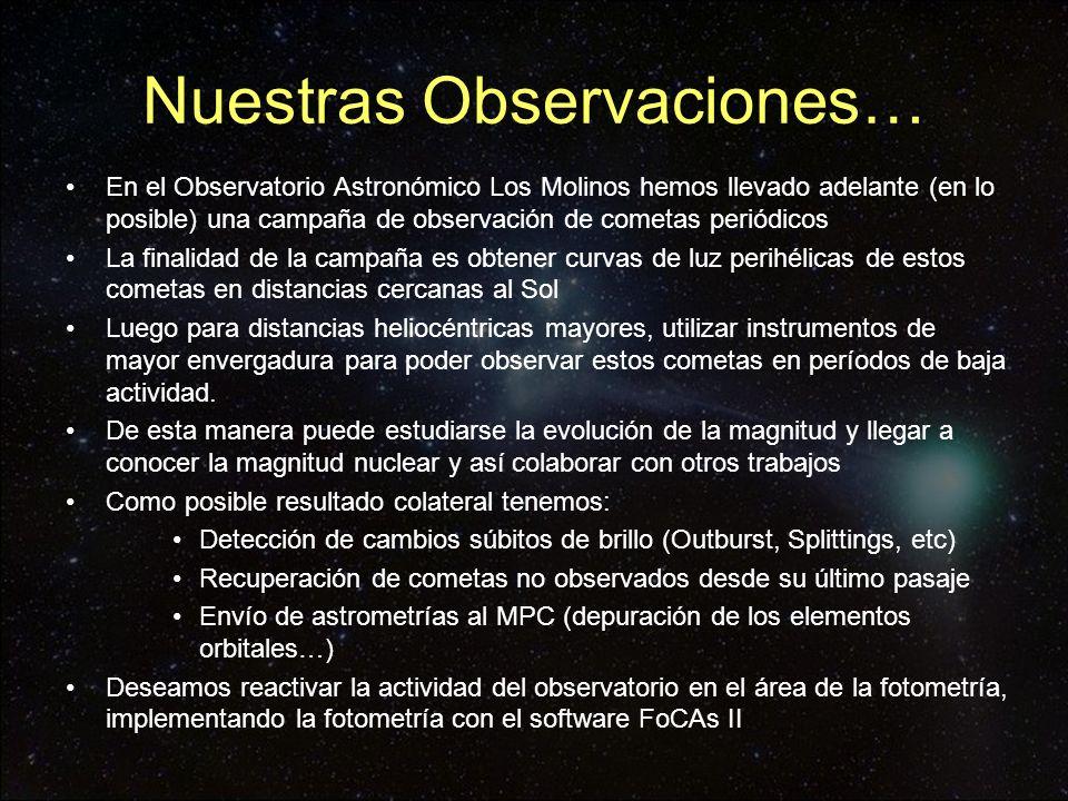 Nuestras Observaciones… En el Observatorio Astronómico Los Molinos hemos llevado adelante (en lo posible) una campaña de observación de cometas periód