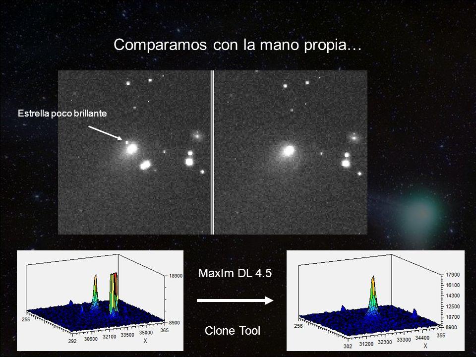 Comparamos con la mano propia… MaxIm DL 4.5 Clone Tool Estrella poco brillante