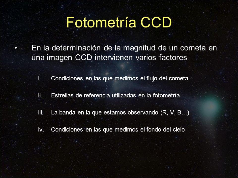 Fotometría CCD En la determinación de la magnitud de un cometa en una imagen CCD intervienen varios factores i.Condiciones en las que medimos el flujo