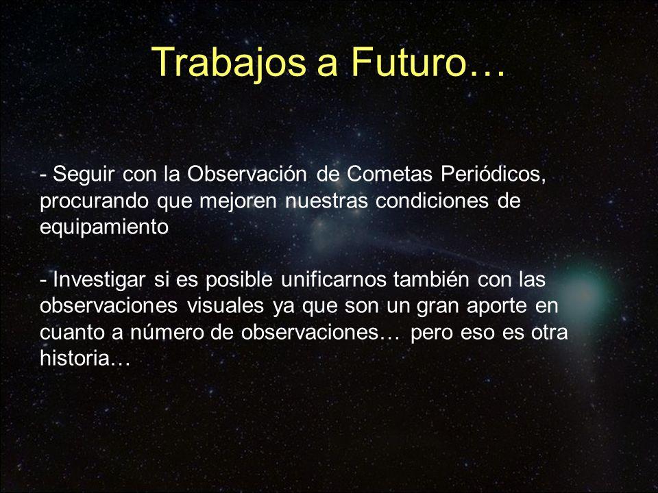 - Seguir con la Observación de Cometas Periódicos, procurando que mejoren nuestras condiciones de equipamiento - Investigar si es posible unificarnos