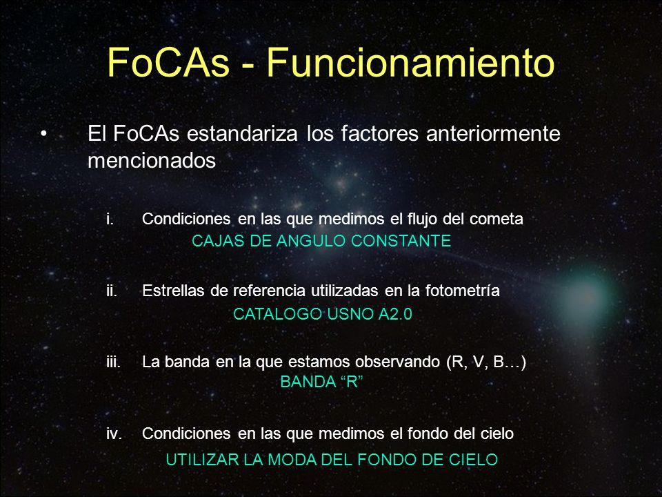 FoCAs - Funcionamiento El FoCAs realiza la fotometría del cometa al cual previamente le hemos hecho las astrometrías correspondientes, utilizando Astrometrica El Astrometrica guarda un archivo de registro interno llamado astrometrica.log que contiene.