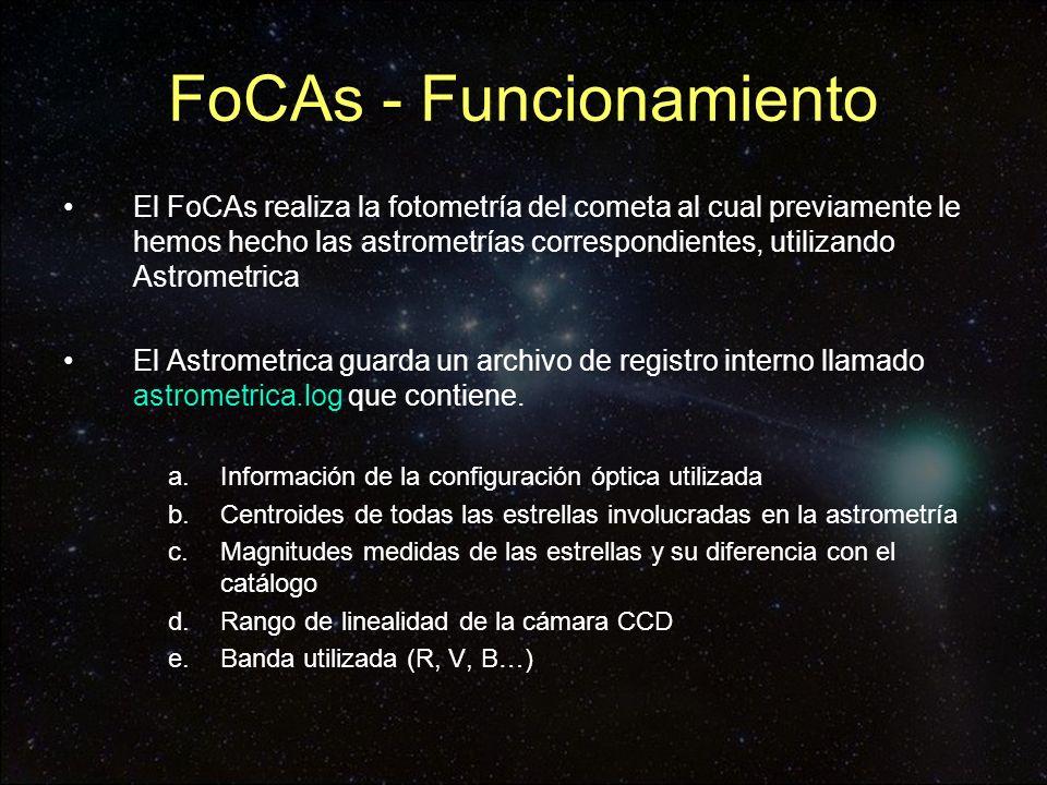 FoCAs - Funcionamiento El FoCAs realiza la fotometría del cometa al cual previamente le hemos hecho las astrometrías correspondientes, utilizando Astr