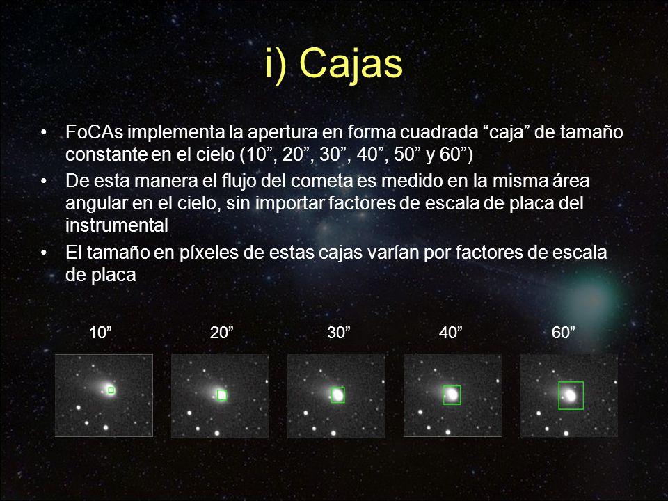 i) Cajas FoCAs implementa la apertura en forma cuadrada caja de tamaño constante en el cielo (10, 20, 30, 40, 50 y 60) De esta manera el flujo del com