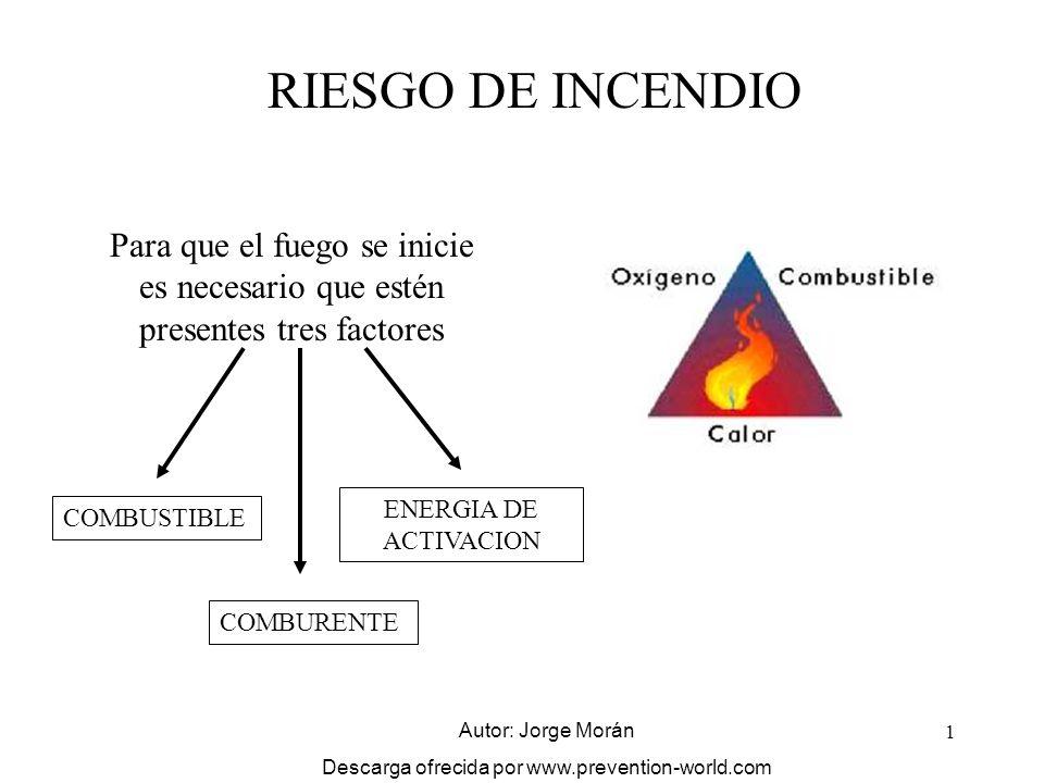1 RIESGO DE INCENDIO Para que el fuego se inicie es necesario que estén presentes tres factores COMBUSTIBLE COMBURENTE ENERGIA DE ACTIVACION Autor: Jo