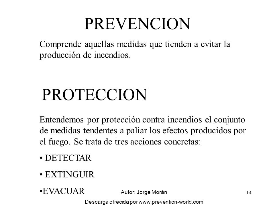 14 PREVENCION Comprende aquellas medidas que tienden a evitar la producción de incendios. PROTECCION Entendemos por protección contra incendios el con