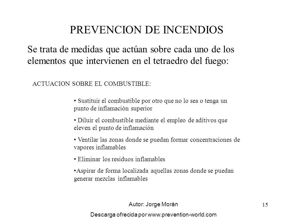 15 PREVENCION DE INCENDIOS Se trata de medidas que actúan sobre cada uno de los elementos que intervienen en el tetraedro del fuego: ACTUACION SOBRE E