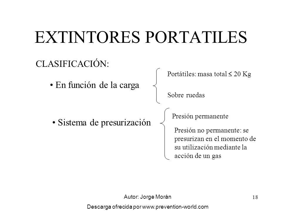 18 EXTINTORES PORTATILES CLASIFICACIÓN: En función de la carga Portátiles: masa total 20 Kg Sobre ruedas Sistema de presurización Presión permanente P