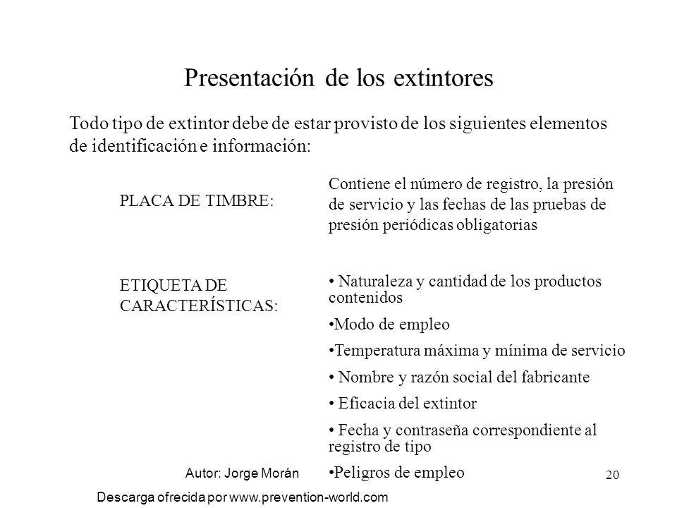 20 Presentación de los extintores Todo tipo de extintor debe de estar provisto de los siguientes elementos de identificación e información: PLACA DE T
