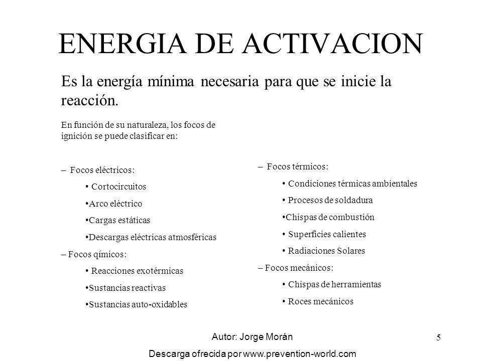 5 ENERGIA DE ACTIVACION Es la energía mínima necesaria para que se inicie la reacción. En función de su naturaleza, los focos de ignición se puede cla