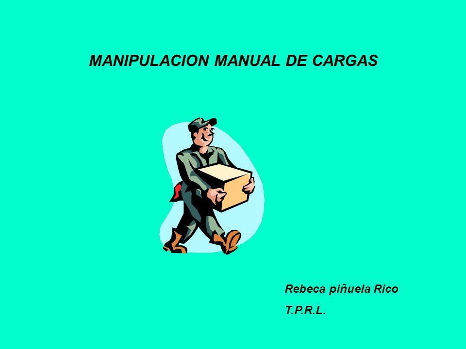 MANIPULACION MANUAL DE CARGAS Rebeca piñuela Rico T.P.R.L.