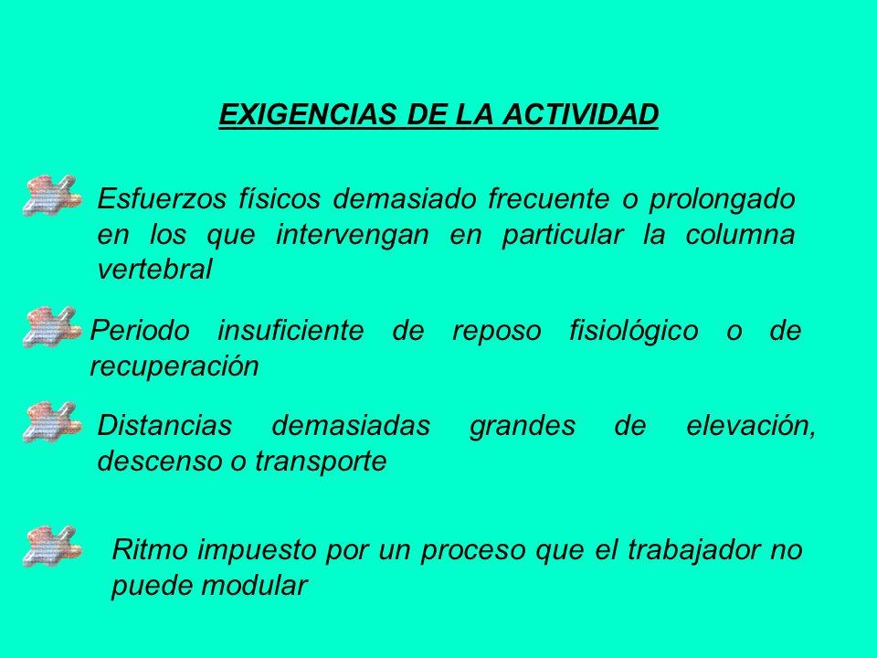 EXIGENCIAS DE LA ACTIVIDAD Esfuerzos físicos demasiado frecuente o prolongado en los que intervengan en particular la columna vertebral Periodo insufi