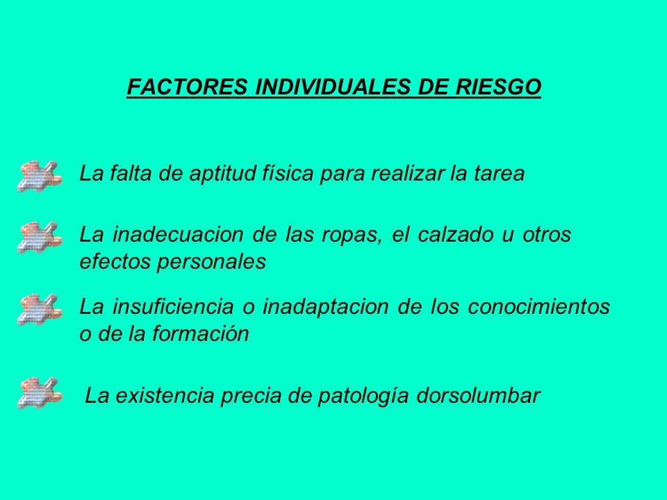 FACTORES INDIVIDUALES DE RIESGO La falta de aptitud física para realizar la tarea La inadecuacion de las ropas, el calzado u otros efectos personales