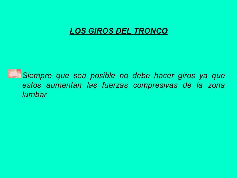 LOS GIROS DEL TRONCO Siempre que sea posible no debe hacer giros ya que estos aumentan las fuerzas compresivas de la zona lumbar