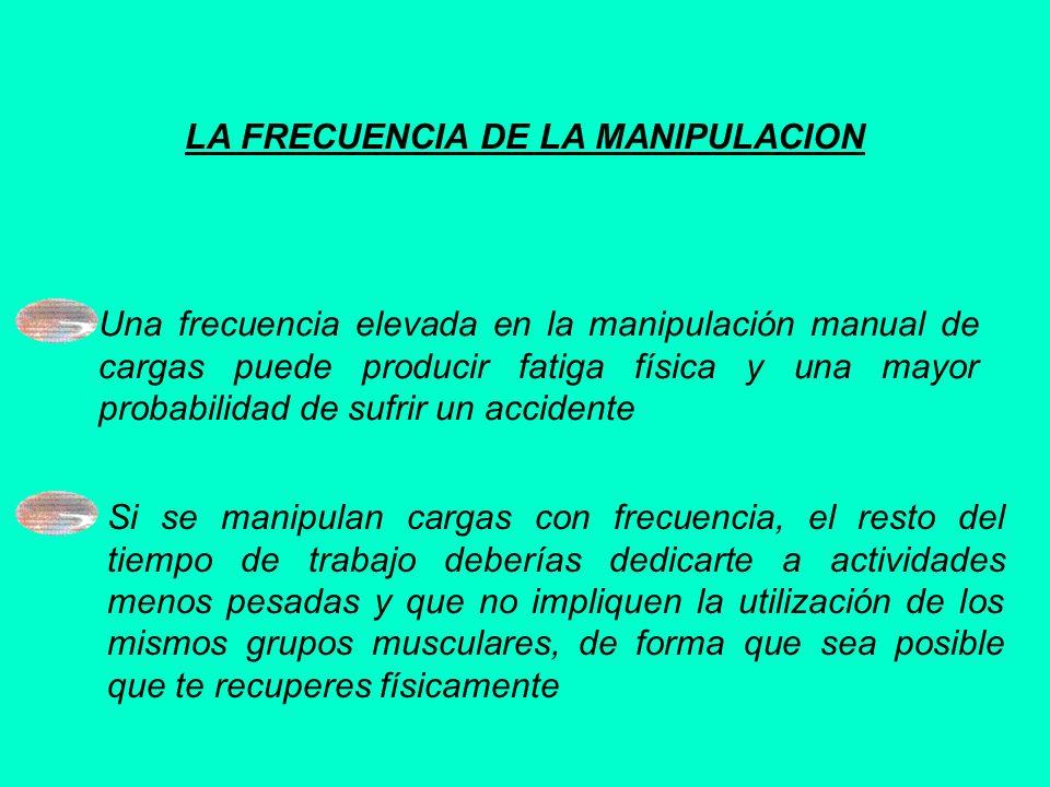 LA FRECUENCIA DE LA MANIPULACION Una frecuencia elevada en la manipulación manual de cargas puede producir fatiga física y una mayor probabilidad de s
