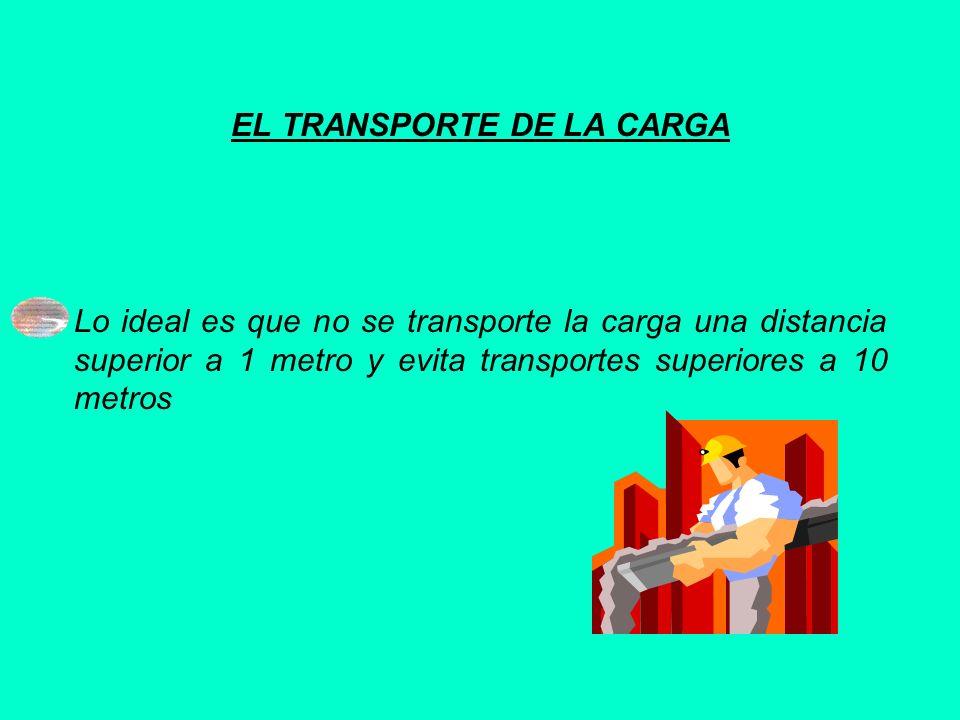 EL TRANSPORTE DE LA CARGA Lo ideal es que no se transporte la carga una distancia superior a 1 metro y evita transportes superiores a 10 metros