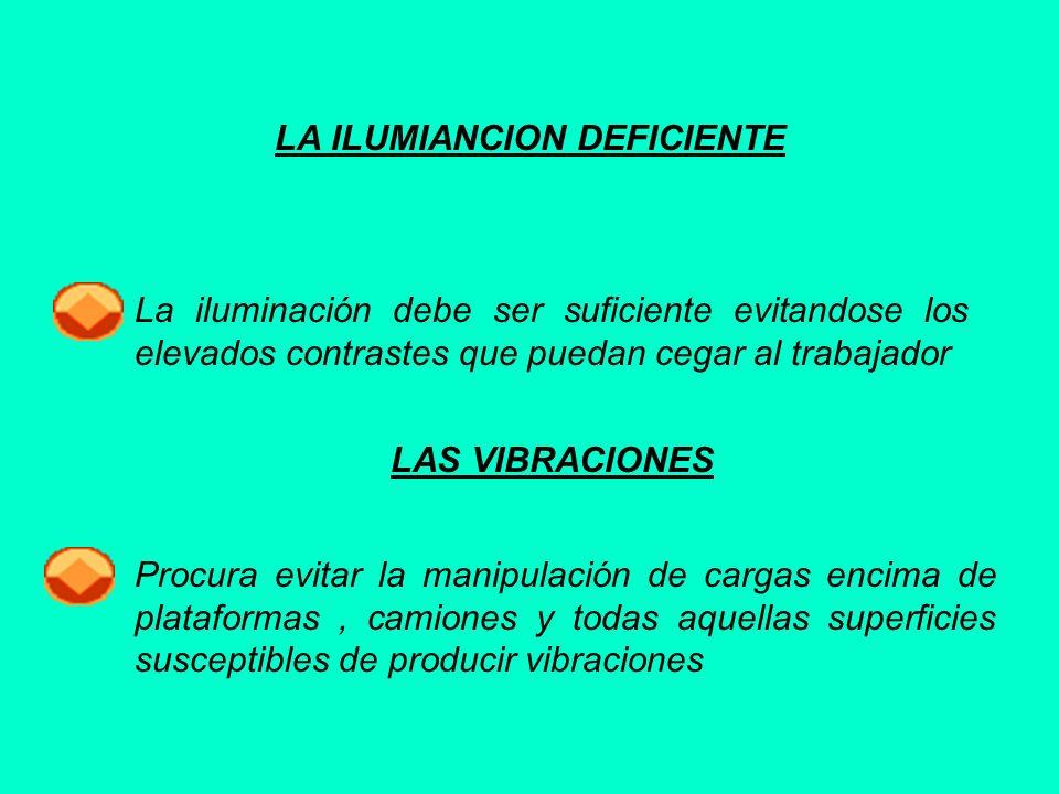LA ILUMIANCION DEFICIENTE La iluminación debe ser suficiente evitandose los elevados contrastes que puedan cegar al trabajador LAS VIBRACIONES Procura