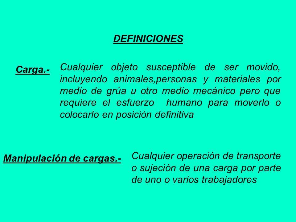 DEFINICIONES Carga.- Cualquier objeto susceptible de ser movido, incluyendo animales,personas y materiales por medio de grúa u otro medio mecánico per