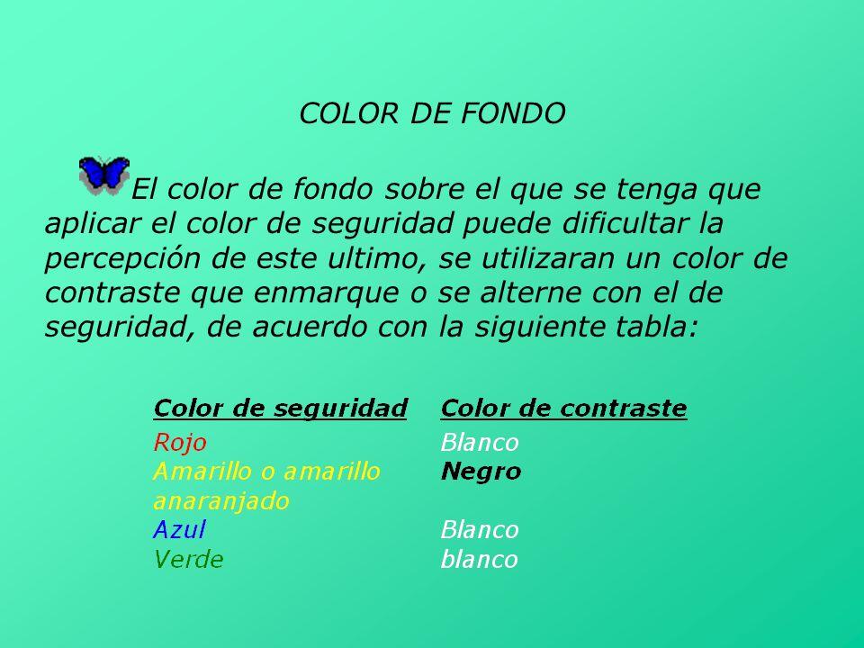 COLOR DE FONDO El color de fondo sobre el que se tenga que aplicar el color de seguridad puede dificultar la percepción de este ultimo, se utilizaran