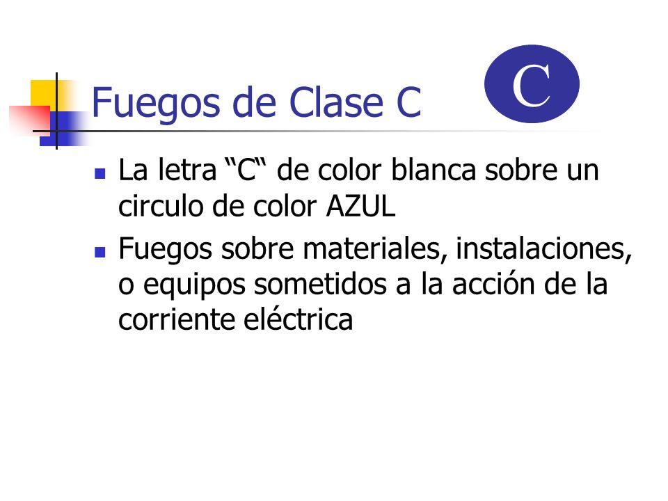Fuegos de Clase C La letra C de color blanca sobre un circulo de color AZUL Fuegos sobre materiales, instalaciones, o equipos sometidos a la acción de