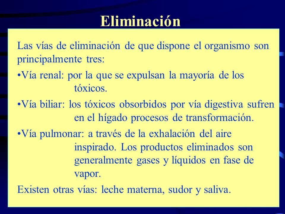 Riesgos Químicos14 Eliminación Las vías de eliminación de que dispone el organismo son principalmente tres: Vía renal: por la que se expulsan la mayor