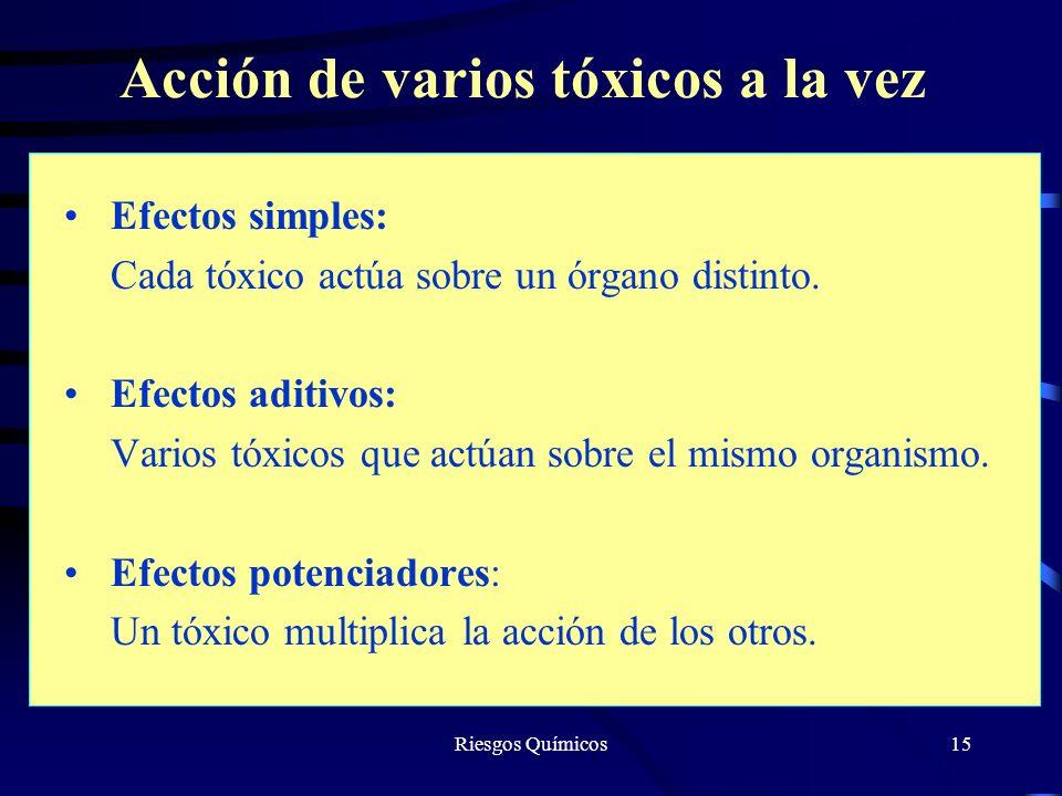 Riesgos Químicos15 Acción de varios tóxicos a la vez Efectos simples: Cada tóxico actúa sobre un órgano distinto. Efectos aditivos: Varios tóxicos que