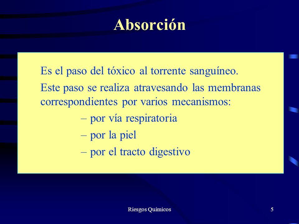 Riesgos Químicos5 Absorción Es el paso del tóxico al torrente sanguíneo. Este paso se realiza atravesando las membranas correspondientes por varios me