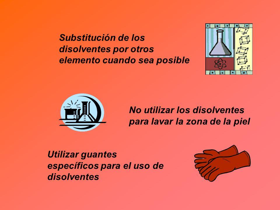 Substitución de los disolventes por otros elemento cuando sea posible No utilizar los disolventes para lavar la zona de la piel Utilizar guantes espec