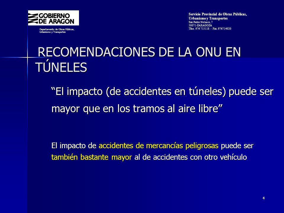 4 RECOMENDACIONES DE LA ONU EN TÚNELES RECOMENDACIONES DE LA ONU EN TÚNELES El impacto (de accidentes en túneles) puede ser mayor que en los tramos al aire libre El impacto de accidentes de mercancías peligrosas puede ser también bastante mayor al de accidentes con otro vehículo Departamento de Obras Públicas, Urbanismo y Transportes Servicio Provincial de Obras Públicas, Urbanismo y Transportes San Pedro Nolasco, 7 50071-ZARAGOZA Tfno.
