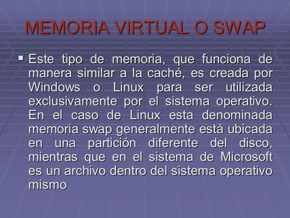 MEMORIA VIRTUAL O SWAP Este tipo de memoria, que funciona de manera similar a la caché, es creada por Windows o Linux para ser utilizada exclusivament