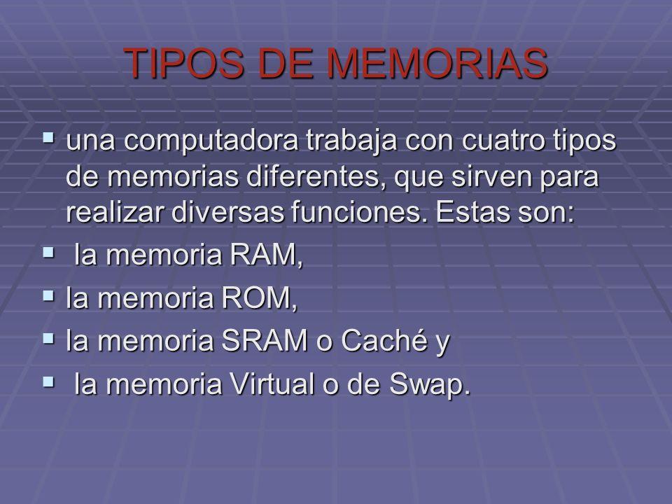 TIPOS DE MEMORIAS una computadora trabaja con cuatro tipos de memorias diferentes, que sirven para realizar diversas funciones. Estas son: una computa