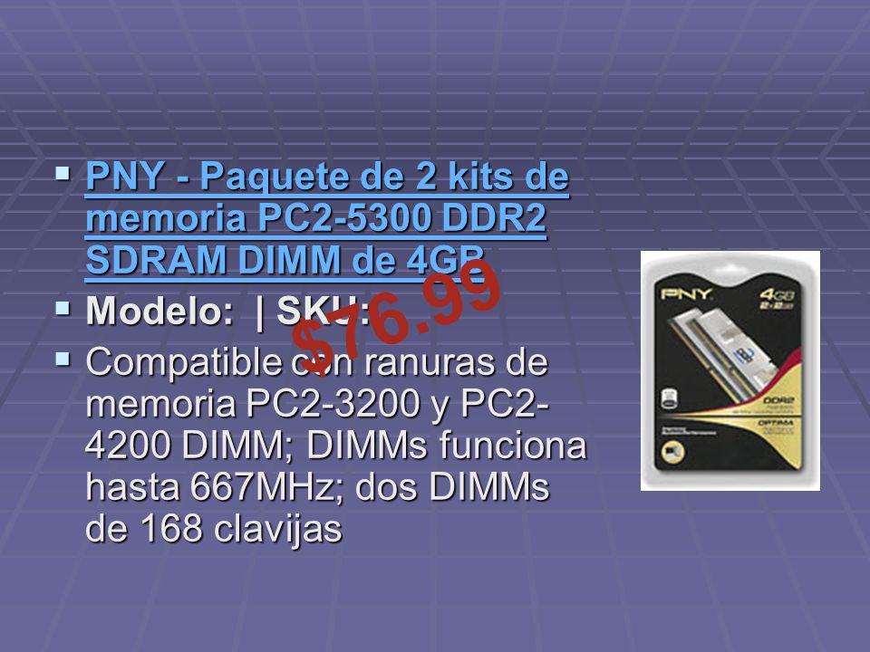 PNY - Paquete de 2 kits de memoria PC2-5300 DDR2 SDRAM DIMM de 4GB PNY - Paquete de 2 kits de memoria PC2-5300 DDR2 SDRAM DIMM de 4GB PNY - Paquete de