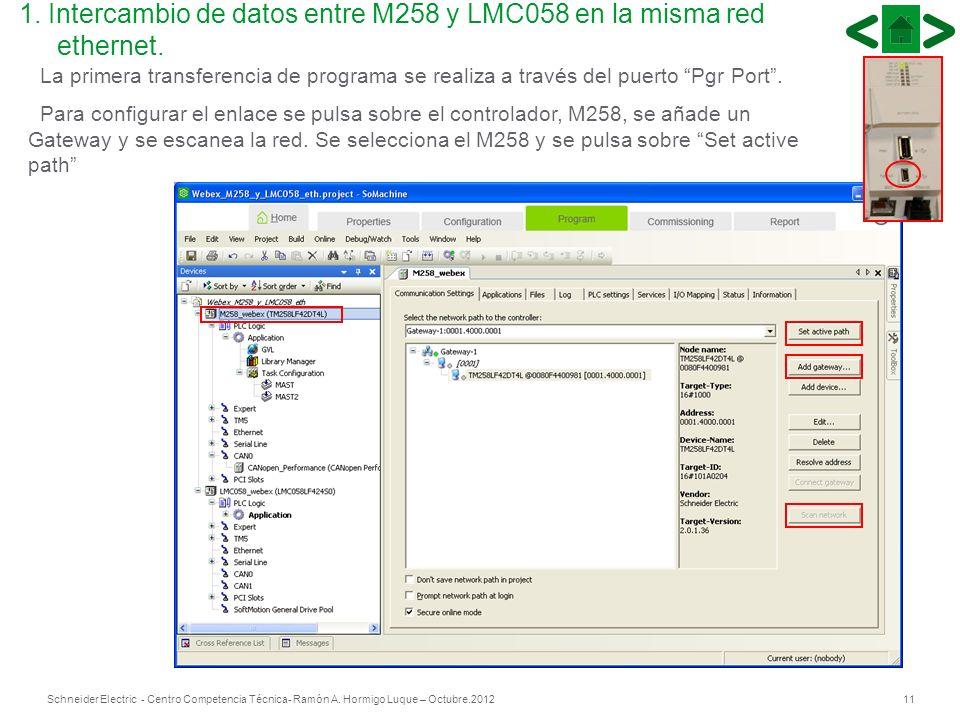 11Schneider Electric - Centro Competencia Técnica- Ramón A. Hormigo Luque – Octubre.2012 La primera transferencia de programa se realiza a través del