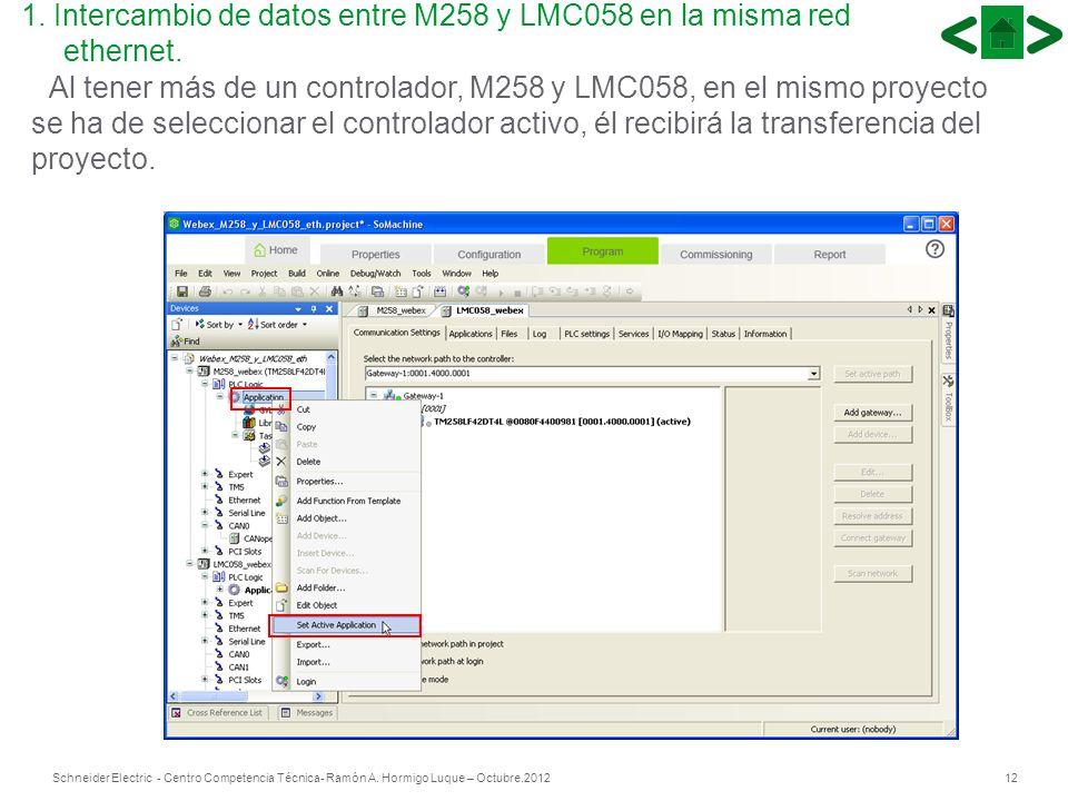 12Schneider Electric - Centro Competencia Técnica- Ramón A. Hormigo Luque – Octubre.2012 Al tener más de un controlador, M258 y LMC058, en el mismo pr