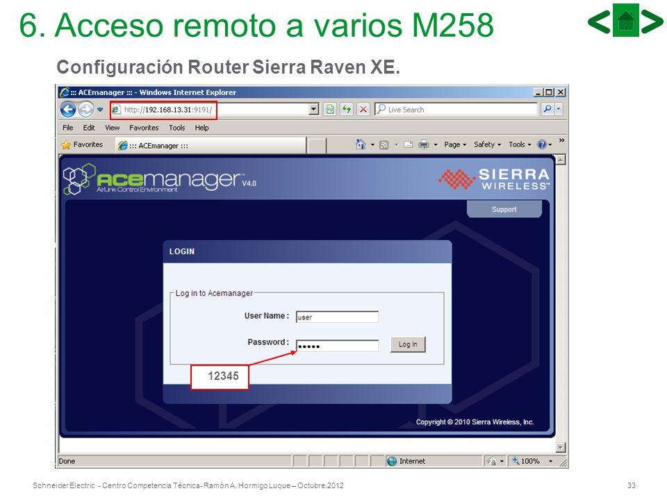 33Schneider Electric - Centro Competencia Técnica- Ramón A. Hormigo Luque – Octubre.2012 12345 Configuración Router Sierra Raven XE. 6. Acceso remoto