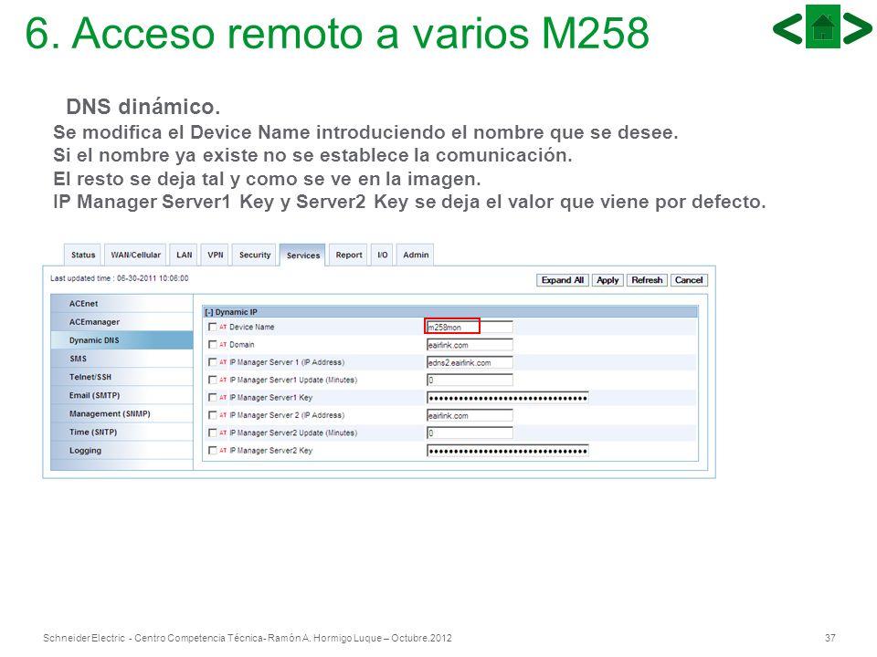 37Schneider Electric - Centro Competencia Técnica- Ramón A. Hormigo Luque – Octubre.2012 DNS dinámico. Se modifica el Device Name introduciendo el nom